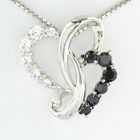 ブラックダイヤモンド ハート ネックレス ダイヤ ペンダント レディース ダイヤモンドモチーフ ゴールド k10 10k 10金