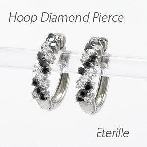 ブラックダイヤモンド ダイヤモンド フープ ピアス レディース ダイヤ 中折れ プラチナ