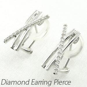 ダイヤ イヤリング ピアス ダイヤモンド レディース シンプル 地金 クロス X字 18金 18k k18 ゴールド 0.2カラット