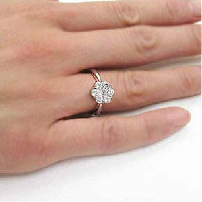 フラワーミステリー花ゴージャスダイヤモンドリングダイヤリング指輪18金K18ホワイトゴールドK18WG1.00ct【送料無料】