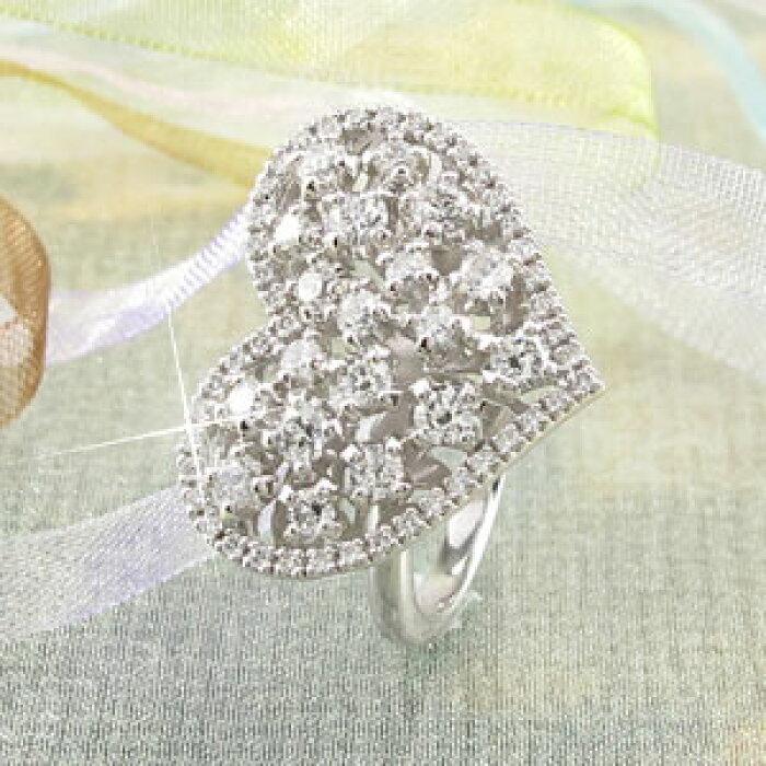 ハートアンティークゴージャスダイヤモンドリングダイヤリング指輪プラチナ900pt9001.00ct【送料無料】10P27Jun14