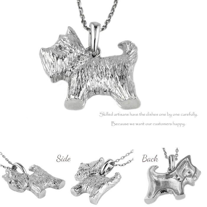プラチナ900ダイヤモンドペンダントネックレス犬イヌヨークシャーテリア天然ダイヤモンドPT900誕生日プレゼント自分ご褒美
