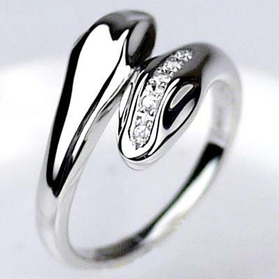 プラチナ900 【送料無料】ダイヤリング ヘビ指輪 天然ダイヤモンド ギフト 誕生日 プレゼント 自分ご褒美