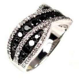 ブラックダイヤモンド クロスリング K18WG 天然ダイヤモンド 婚約指輪 結婚指輪 彼女 誕生日 プレゼント ギフト ゴールド 自分ご褒美