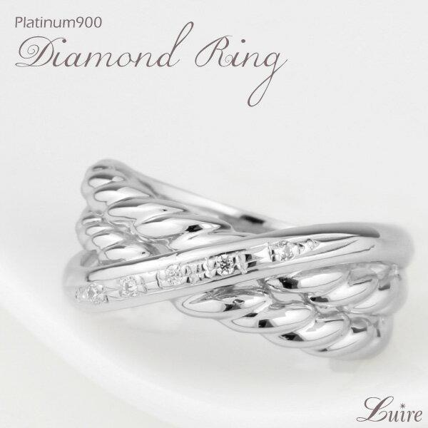 リング レディース 幅広 クロス 縄 ツイスト ダイヤモンドリング プラチナ900 ダイヤ リング 誕生日 プレゼント 自分ご褒美 ゴールド
