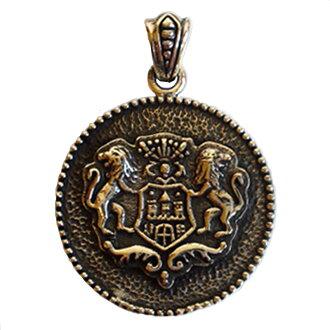 [Silver925 large size crest pendant Crest lion emblem]