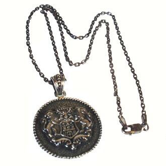 [Silver925 large size crest necklace CREST lion emblem]