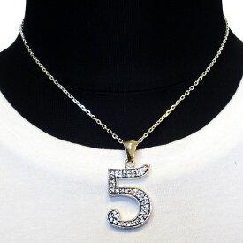 【Luz azul シルバー925 特注Lサイズ ナンバーネックレス No.5 送料無料】ジルコニア装飾 Silver925 数字ネックレス