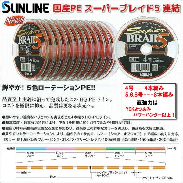 超特価 サンライン スーパーブレイド5 PE 4号 送料無料