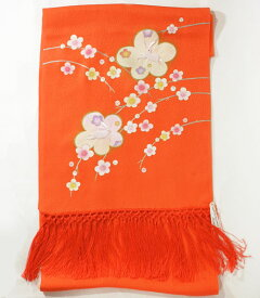 七五三正絹うさぎ刺繍金彩しごき 橙skst03