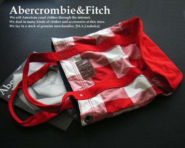 3951新品★アバクロンビー&フィッチ Abercrombie&Fitch★チェック柄トートバック★赤系★WOMNES★