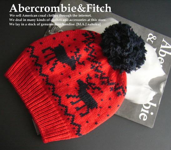 4102新品★アバクロンビー&フィッチ Abercrombie&Fitch★ボン付ロゴニット帽★赤系★ONESIZE★WOMENS★