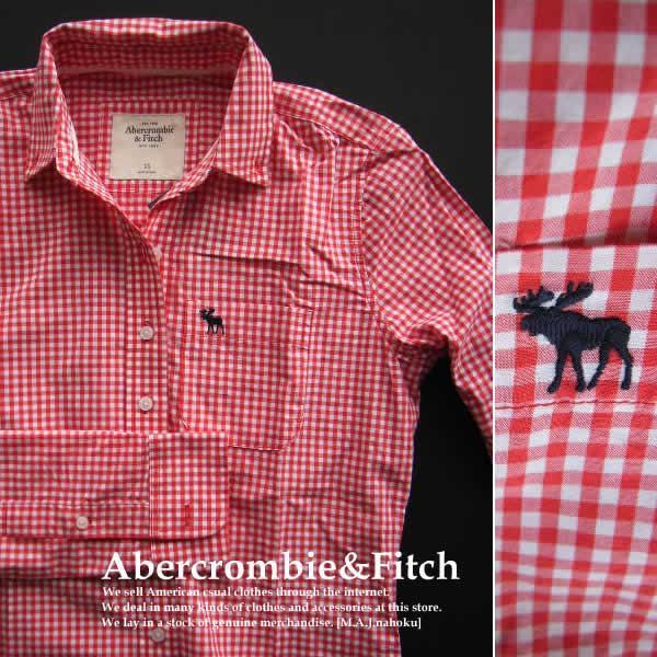 4227新品★アバクロンビー&フィッチ Abercrombie&Fitch★ギンガムチェックシャツ★赤白★XS★WOMENS