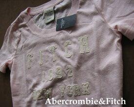2214新品★アバクロンビー&フィッチ Abercrombie&Fitch★ロゴアップリケTシャツ★薄ピンク★XS★WOMENS