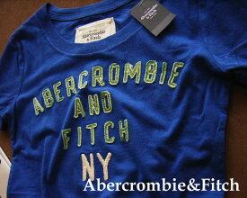 2220新品★アバクロンビー&フィッチ Abercrombie&Fitch★ロゴアップリケTシャツ★ブルー★XS★WOMENS