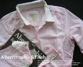 4080新品★アバクロンビー&フィッチ Abercrombie&Fitch★クレリックストライプシャツ★白ピンク★M★WOMENS