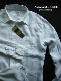4936新品★アバクロンビー&フィッチ Abercrombie&Fitch★麻リネン100シャツ2918★白★L★MENS★