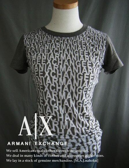 1488-91新品★アルマーニエクスチェンジ ARMANI EXCHANGE★A XデザインロゴロゴTシャツ★ブラウン★WOMENS★