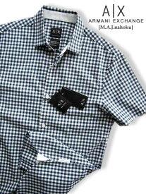 8049新品★アルマーニエクスチェンジ ARMANI EXCHANGE★A|X 半袖チェックシャツ2913★白紺★XS★MENS★