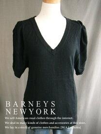 410-1新品★バーニーズ ニューヨーク BARNEYS NEWYORK★デザインVネックニット★黒★WOMENS