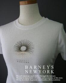 591-2新品★バーニーズ ニューヨーク BARNEYS NEWYORK★デザインロゴTシャツ★白★WOMENS