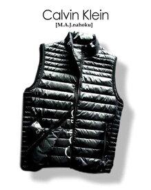207-8新品★カルバン クライン Calvin Klein★ダウンベストジャケット2901 収納袋付★黒★MENS