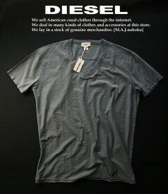 5857新品★ディーゼル DIESEL★ヴィンテージ裾ロゴVネックTシャツ2506★グレー★XXXL★MENS★BIGサイズ★