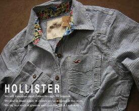 1691新品★ホリスター HOLLISTER★ストライプシャツ★白紺★S★WOMENS★