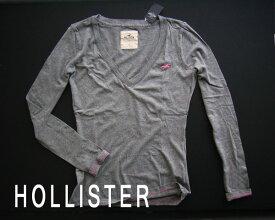 2341-2新品★ホリスター HOLLISTER★胸ロゴVネックロンT★グレー★WOMENS★