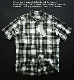 418新品★マーガレットハウエル MARGARET HOWELL★麻リネン100半袖チェックシャツc117★緑系★L★MENS★