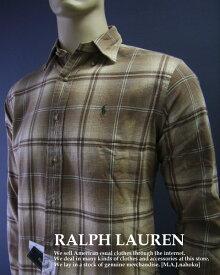 1866-7新品★ラルフローレン RALPH LAUREN★胸ロゴチェックシャツ★ベージュ系★MENS★大きいサイズ