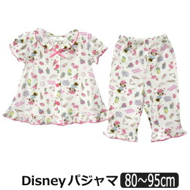 女の子 ミニー 半袖 前開き パジャマ 80cm 90cm 95cm 10ミニー 331102709 Disney ディズニー 子供服 キッズ ベビー 赤ちゃん 上下セット ナイトウェア キャラクター 2k5