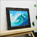 波の絵画 Goes&Windy作 木彫りフレーム付 73x53Cm 【バリ島直輸入 バリアート アジアン雑貨 バリ雑貨 ウィンディー サーフアート】