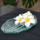 バリ島のガラス製リーフプレート/バリ雑貨/アジアン雑貨/小物入れ/オブジェ/ディスプレイ