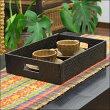 バリ島のパンダンで作ったスクエアトレイ/アジアン雑貨/バリ雑貨/おぼん