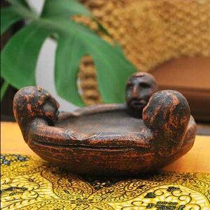 テラコッタ製灰皿 キャンドルホルダーにも 【バリ島直輸入 アジアン雑貨 バリ雑貨 エスニック 素焼き 焼き物 つぼ 壺 土器 花瓶】