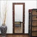 木彫りフレームの鏡 バリスタイル 60X160cm【バリ島直輸入 アジアン雑貨 バリ雑貨 エスニック アジアンテイスト ハワイアン リゾート…