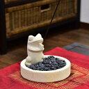 石像のお香立て お祈りカエル バリ島の小石付き 【バリ島直輸入パラス石 パラスストーン バリ雑貨 アジアン雑貨】
