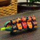 木彫りの置物 ベンチで仲良くお座りしているバリ猫 【バリ島直輸入 バリ雑貨 アジアン雑貨 彫刻 エスニック おしゃれ ハワイアン お土…