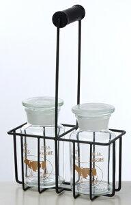 ワイヤー キャリングバスケット 2ガラスボトルセット ナチュラル雑貨 ガラス瓶 アレンジメント