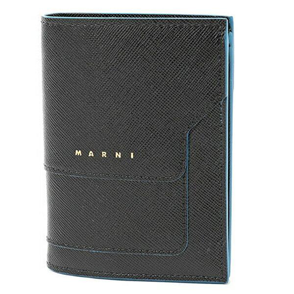 MARNI マルニ PFMOQ14U07 LV520 レザー 二つ折り財布 ミニ財布 スモール 豆財布 カラーZ047B/BLACK レディース