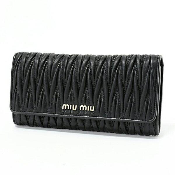 miumiu ミュウミュウ 5MH109 N88 F0002 MATELASSE マテラッセ キルティングレザー 二つ折り長財布 カラーNERO