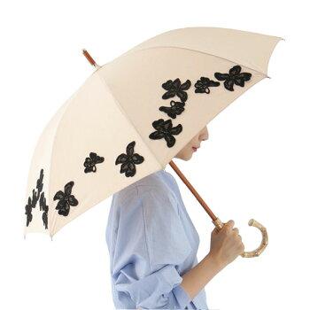 abuアブ15430FRバンブーハンドルフローラルパターン日傘UVカット晴雨兼用パラソルレース花フラワー刺繍カラー/ベージュレディース+