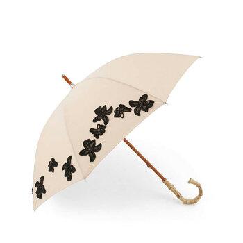 エントリーでポイント10倍!15日20:00〜23:59★abuアブ15430FRバンブーハンドルフローラルパターン日傘UVカット晴雨兼用パラソルレース花フラワー刺繍カラー/ベージュレディース+