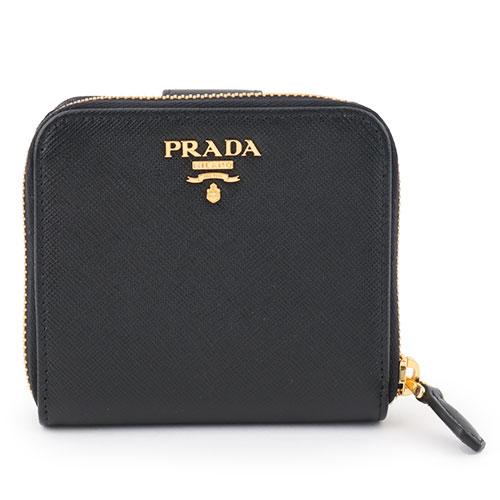 PRADA プラダ 1ML522 QWA F0002 SAFFIANO METAL サフィアーノ レザー 二つ折り財布 ミニ財布 豆財布 ラウンドファスナー ロゴ金具プレート カラーNERO/ブラック レディース
