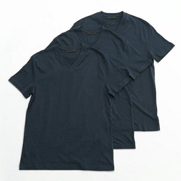 PRADA プラダ UJM493 ILK F0124 3枚セット パックT 無地 半袖 Tシャツ カットソー Vネック V首 カラーNAVY メンズ