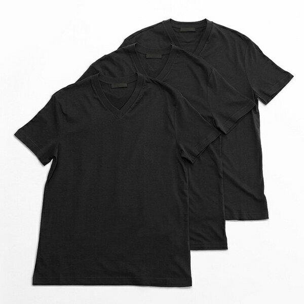 PRADA プラダ UJM493 ILK F0002 3枚セット パックT 無地 半袖 Tシャツ カットソー Vネック V首 カラーNERO メンズ