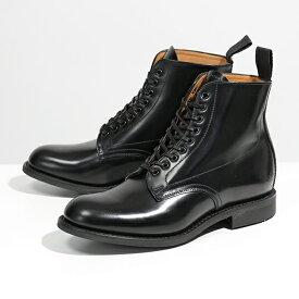 【500円OFFクーポン対象!12日0時〜23時59まで】Sanders サンダース 1615B Military Derby Boot Polishing Leather レザー ショートブーツ プレーントゥ Black 靴 レディース