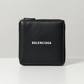 BALENCIAGA バレンシアガ 594693 1I313 1I353 1090 CASH SQUARE レザー ラウンドファスナー 二つ折り財布 小銭入れあり BLACK メンズ