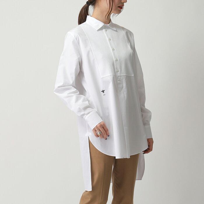 Dior ディオール 841B53A3356 0001 コットン ブラウス 刺繍入り タック トップス シャツ 0100/ホワイト レディース